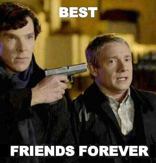 """Sherlock doesn't understand the concept """"I'd like to say the gun is not my idea!"""" """"Hostage!"""" """"Hostage! Hostage is good too."""""""
