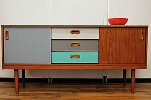 Retro Vintage 1970's Sideboard Teak Veneer Coloured Draws and Doors Glass Top | eBay