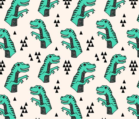 Dinosaurs - Light Jade/Champagne/Charcoal by Andrea Lauren fabric by…