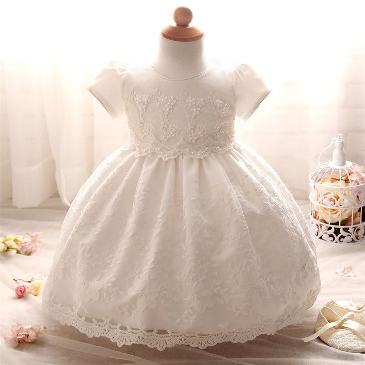 Lace Baptism Dress with Beaded Accents
