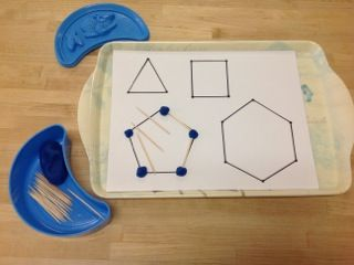 Making Shapes with playdoh and toothpicks- Montessori Art