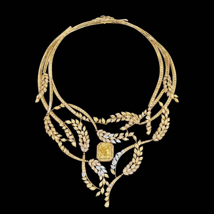 Chanel Joaillerie 2016 collection--the Fête des Moissons, a necklace anchored by an octagonal 25-carat fancy intense yellow diamond (a nod to the shape of the Place Vendôme), with a further 95-plus carats of multicolored diamonds in various cuts comprising the wheat stalks—more than 1,200 diamonds and 120 carats in all.