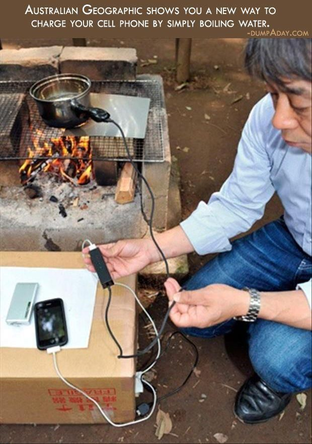 Charging electrical devices with boiling water.