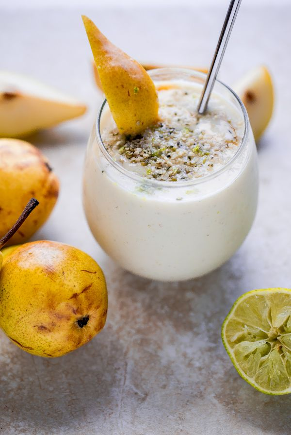 Simple and healthy Bartlett pear smoothie with vanilla, honey, and lime zest.