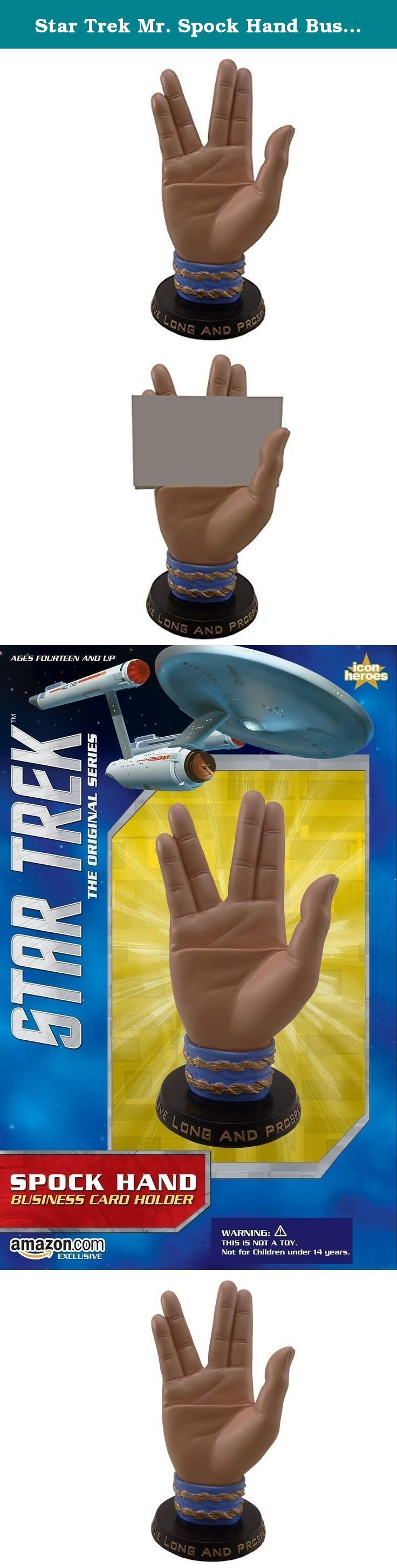 "Star Trek Mr. Spock Hand Business Card Holder. Live long and prosper the Vulcan way with the Star Trek Spock Hand Business Card Holder by Icon Heroes. Approximately measures 6.5"" H x 4.5""W x 2.5"" D and weighs 1.3 lb. Made of sturdy poly stone, each piece is meticulously hand painted. Easily recognizable, the Star Trek Spock Hand Business Card Holder is sure to be a conversation piece of any Star Trek collection."