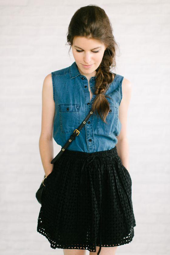Madewell sleeveless chambray + Madewell eyelet skirt + messy braid