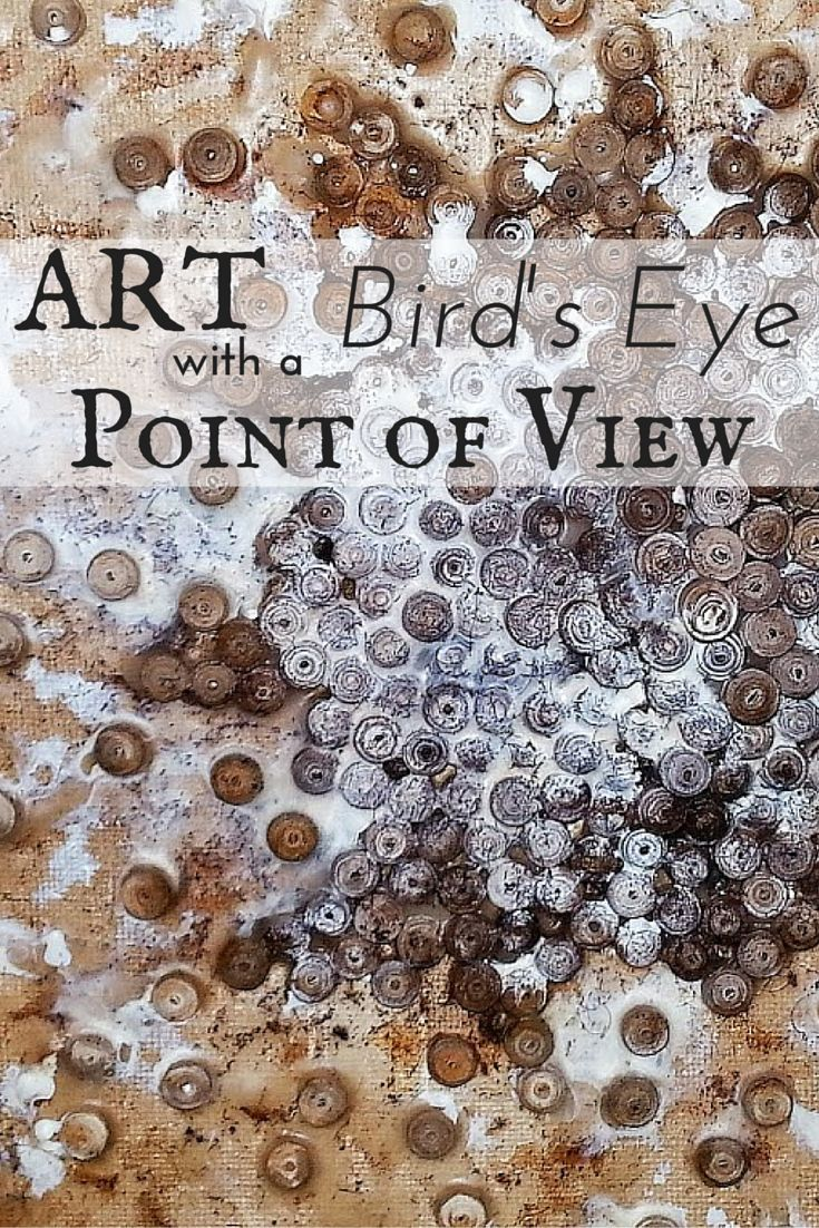 This mixed media piece from Anjuli Johnson has a unique bird's eye point of view.  It's like a cityscape growing from the surface of the canvas.