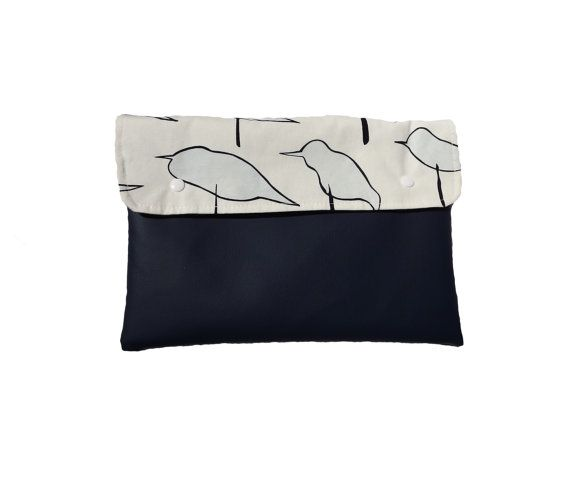 Navy vegan leather clutch with birds animal by Monalinebags
