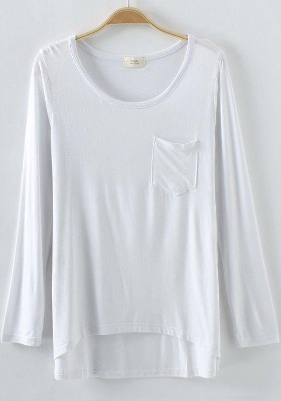 White Plain Pockets Long Sleeve T-Shirt - T-Shirts - Tops