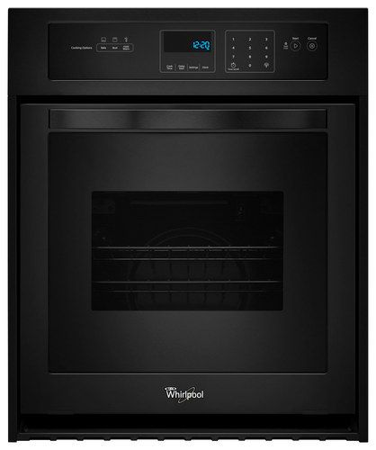 """Whirlpool - 24"""" Built-In Single Electric Wall Oven - Black"""