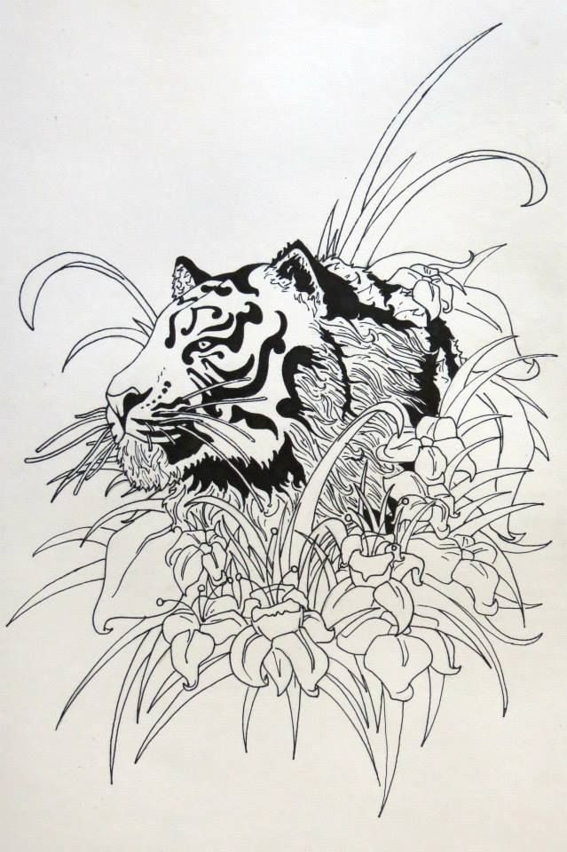 Henry Goyder Art Nouveau Tiger Poster Pen and Ink