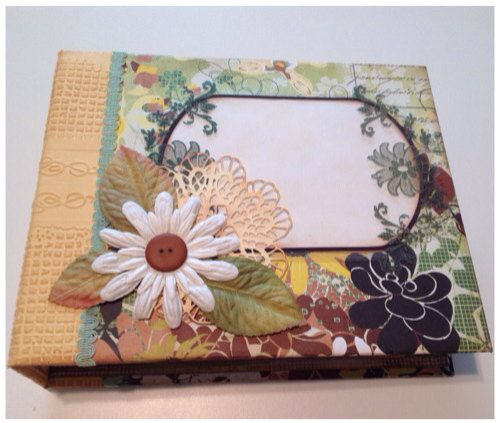 """Origins Handmade 8""""x 10"""" Tag Pocket Photo Album in Yellow, Green and Brown Florals By Jen Unger  jenungerfinearts.etsy.com"""