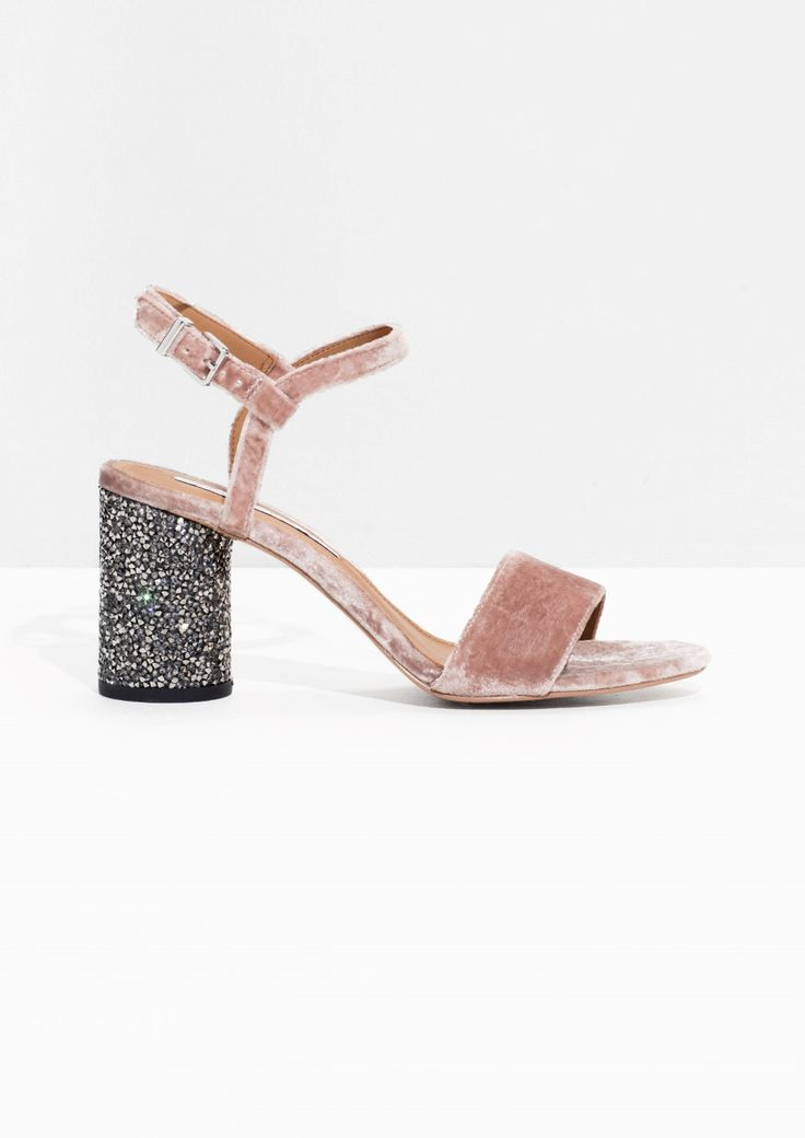 & Other Stories / Velvet Sequin Heel Sandalette in Pink