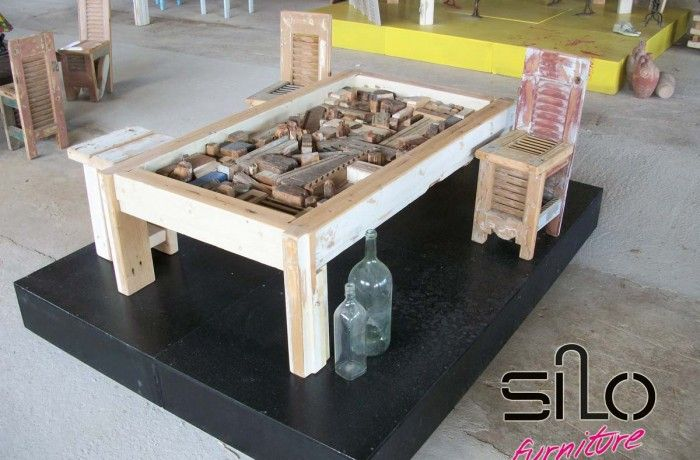Vintage Table - Panel. Wooden table its surface consists of a wooden panel depicting city.