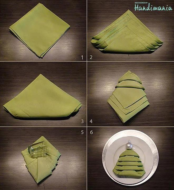 Aus einer grünen #Serviette wird ein Tannebaum - perfekt für die weihnachtliche #Tischdeko