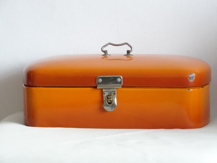 REDUCED Enamel Bread Bin, Vintage Enamelware, Orange Enamel Bread Bin, Mid Century Enamelware by LesTempsPerdus on Etsy https://www.etsy.com/listing/261271200/reduced-enamel-bread-bin-vintage