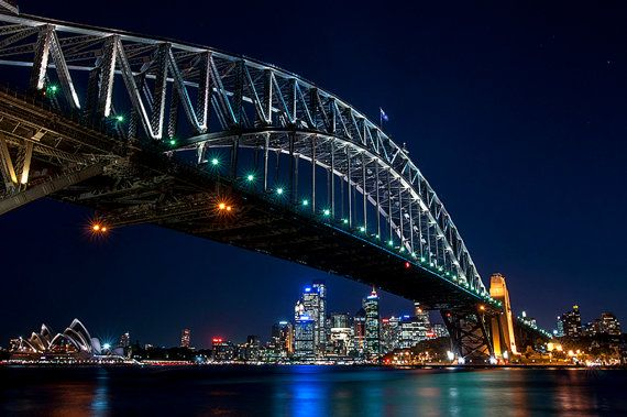 Lauren Proctor Photography: Night view of Sydney Harbour on Etsy, $7.50