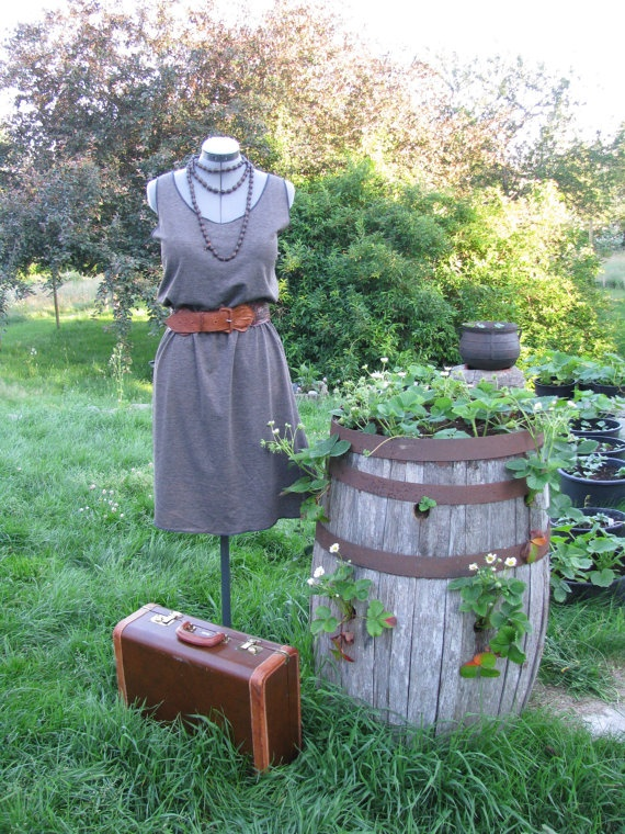 Brown Heather Stretch Cotton Knit Tank Top Dress XL by sugarsoul, $60.00