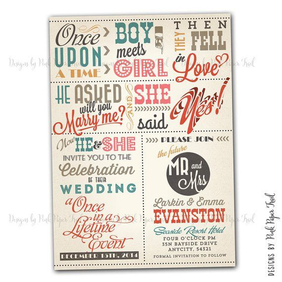 Quirky wedding invitation - see more ideas on http://themerrybride.org/2014/04/04/friday-finds-from-etsy-com-the-quirky-edition/