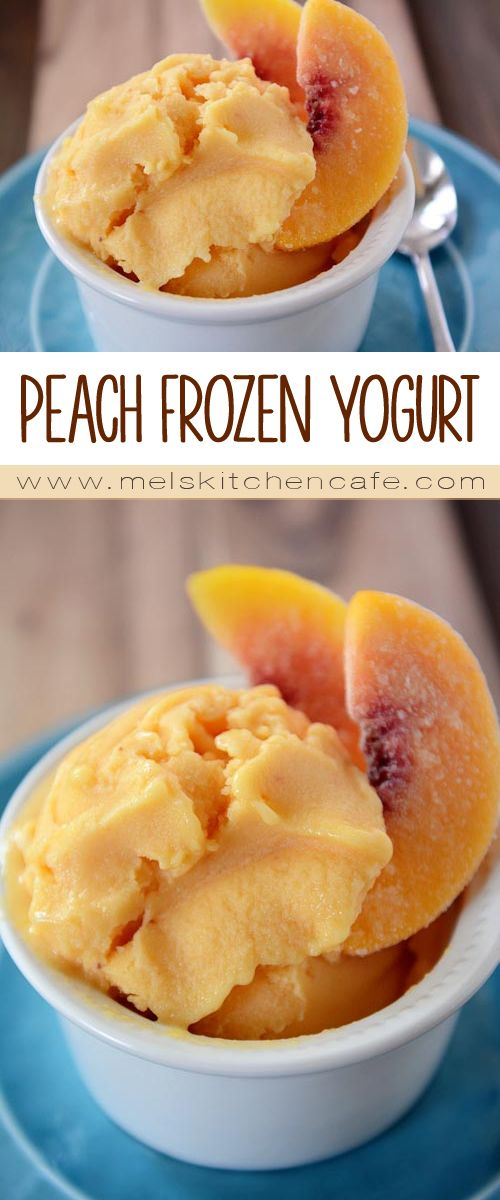 This quick, easy, and healthy Peach Frozen Yogurt is a great way to use up your frozen peaches.