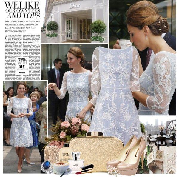 Гипюровое голубое платье Кейт Миддлтон, фото