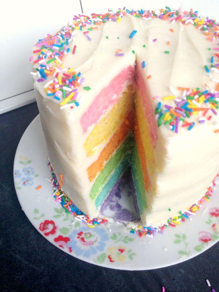 Pastel Rainbow Cake - get the easy recipe at kerrycooks.com!