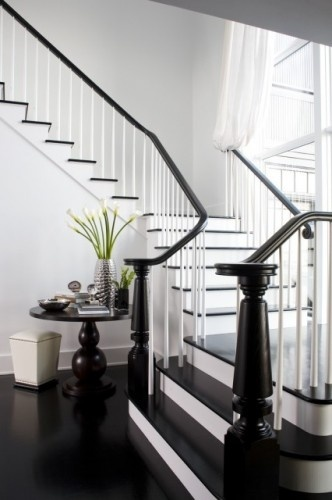 I like the dark stair tops and bannisters with the white fronts. If we have stairs when we move this could be a really sharp look.Decor, Ideas, Staircases, Black And White, Architecture Interiors, Black White, House, White Stairs, Contemporary Staircas