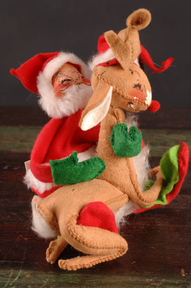 Annalee Mobilitee Doll, Santa Claus Hugging Rudolph Red Nose Reindeer, 1971, Meredith, New Hamphire by dinaandpartners on Etsy