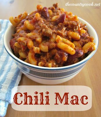 Chili Mac recipe from The Country Cook. One bite and you will feel like you are in your Moma's kitchen as a kid. Easy and full of flavor. This one is a family favorite.