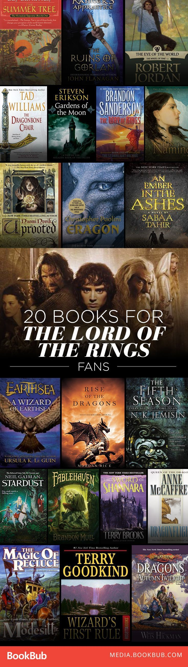 A giant list of epic fantasy books to read if you love Lord of the Rings. This is a must-save list!