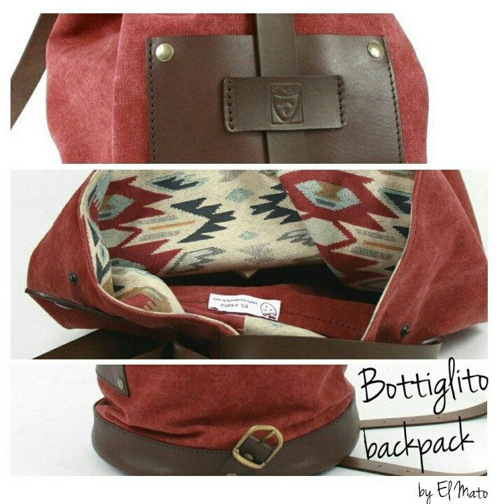 Bottiglito backpack details!!! Italian canvas and vegetable tanned leather!! 100% Handmade in Italy!