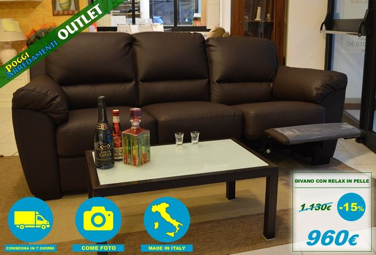 #Divano 3 posti con relax manuale tinta marrone a soli € 960 #PoggiArredamentiOutlet - l' #outlet dell' #arredamento in #ValTrebbia in Loc. Beinaschi (GE)