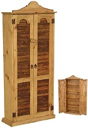 Prevent dust from gathering on your CDs or DVDs by storing them behind these decorative planked rustic pine panel doors.  Five sturdy shelves provide all the space you'll need for your collection.  You can use the top of this piece for display.  This southwestern cabinet has been handmade in Mexico of solid rustic pine.  It has a distressed finish that goes with most casual décor.  Holds 200 CDs in the jewel cases. $199 24x53x8D