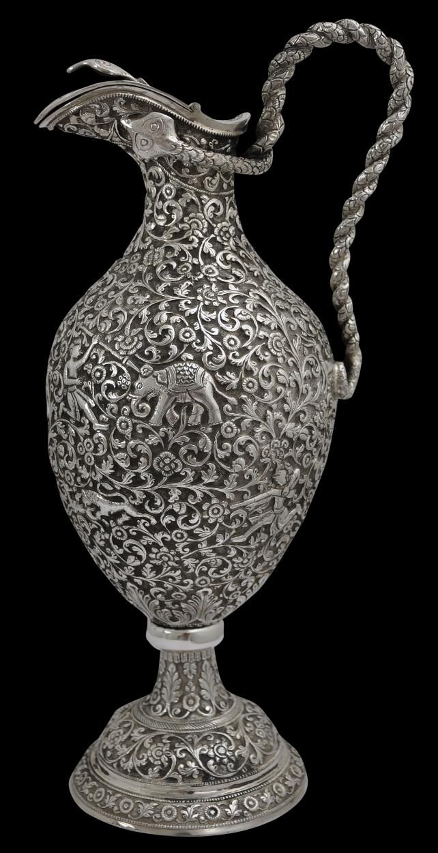 Large Chased Silver Claret Jug, Kutch, India