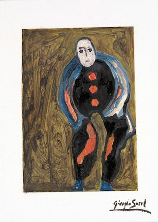 The clown, 1994, oil, newspaper, laminated on shimmed paper, 28x20 cm