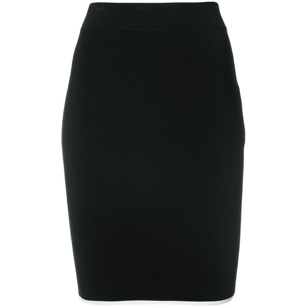 T By Alexander Wang Contrast Seam Straight Skirt ($250) ❤ liked on Polyvore featuring skirts, black, high waisted knee length skirt, t by alexander wang, straight skirts, high-waist skirt and t by alexander wang skirt