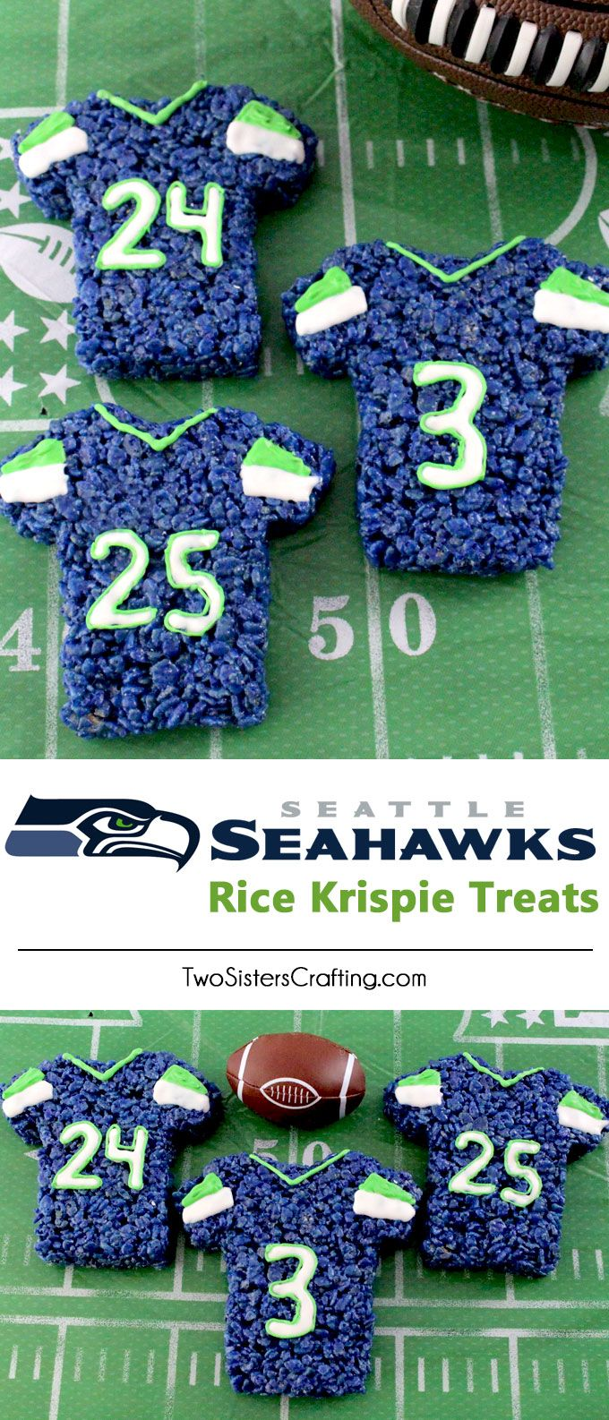 These Seattle Seahawks Rice Krispie Treats Team Jerseys are a fun football dessert for a game day football party, an NFL playoff party, a Super Bowl party or as a special snack for the Seattle Seahawks fans in your life. Go Seahawks! And follow us for more fun Super Bowl Food Ideas.