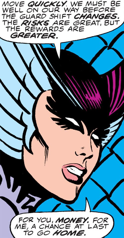 Deathbird of the Shi'ar (X-Men enemy) (classic Marvel Comics) face closeup side view. From http://www.writeups.org/deathbird-shiar-x-men-marvel-comics-classic/