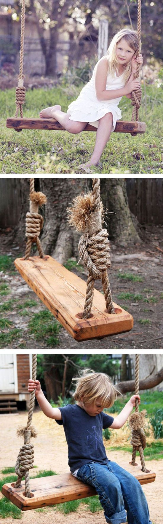 Here's a great way to recycle: repurpose a pine floor joist from a 19th-century house as the perfect swing for your yard.