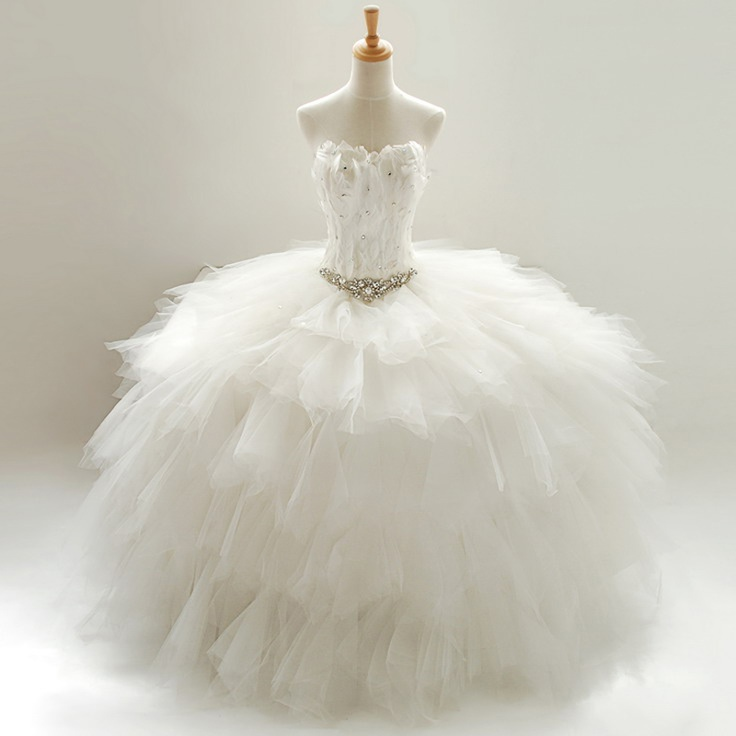Stella free shipping gown Tube top 2012 princess wedding dress feather bandage hs-282