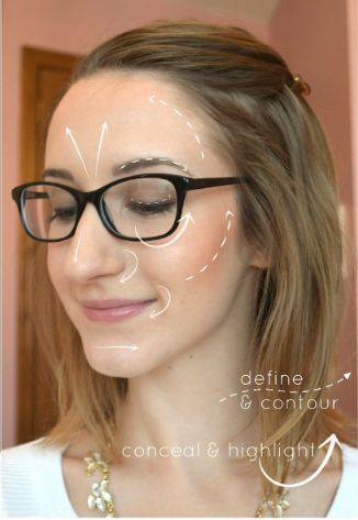Makeup for glasses - highlight and contouring tutorial