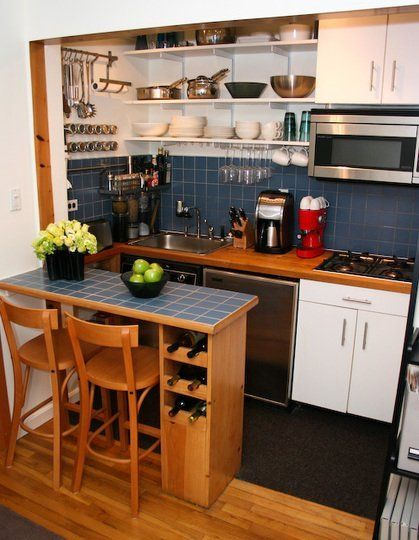 small space gallery dining at the counter in style - Small Apartment Kitchen Design