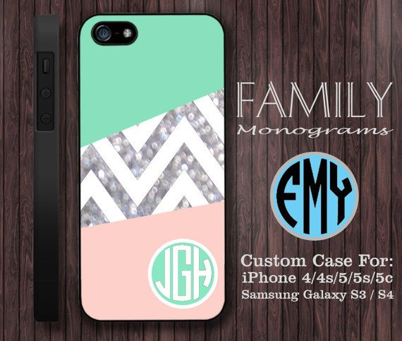 pale pink and mint sparkle monogram hard plastic by familymonogram, $15.99