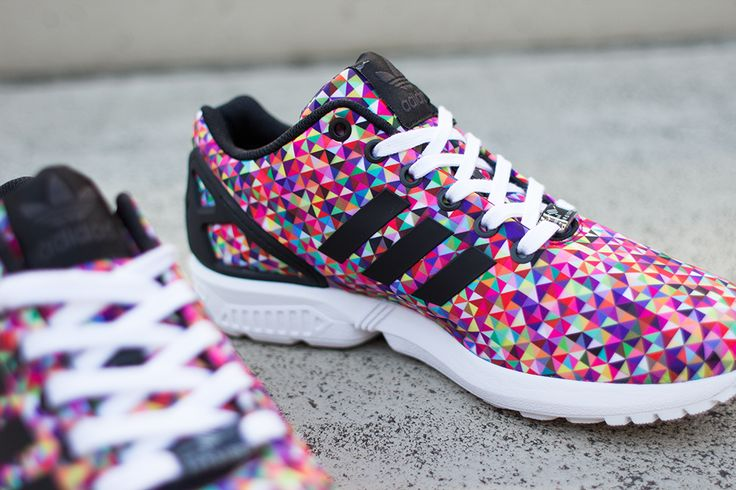 Exclusive Adidas ZX FLUX Xeno Black/RainbowMulti Color Mens