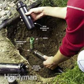 Replace a sprinkler head, adjust sprinkler heads also. I love family handyman!