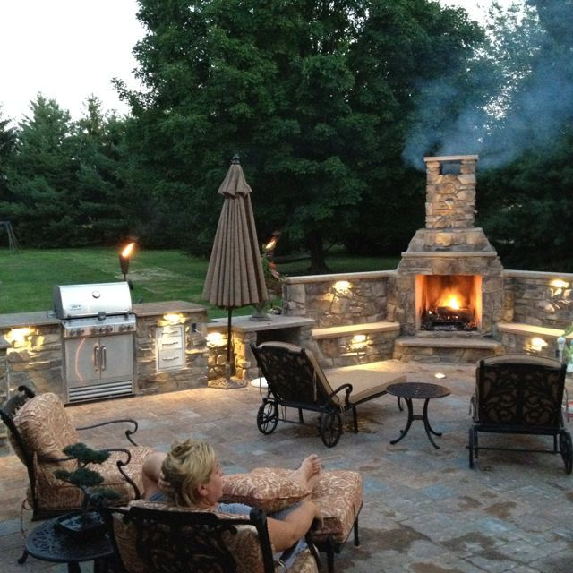 Outdoor fireplace. Thinking a pizza oven instead of the bbq. OR a coal bbq on one side of the fireplace, and a pizza oven on the other
