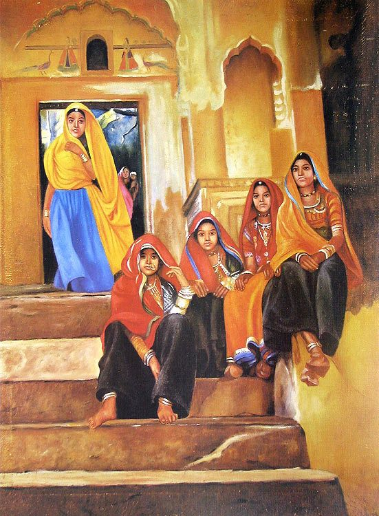 Rajasthani Village Girls (Reprint on Paper - Unframed))