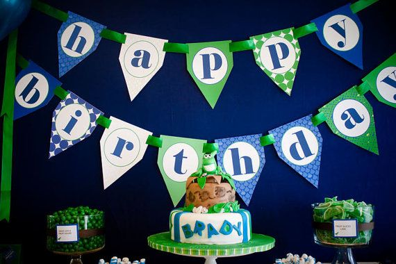 Dinosaur Printable Happy Birthday  Banner  by FrogPrincePaperie, $9.00