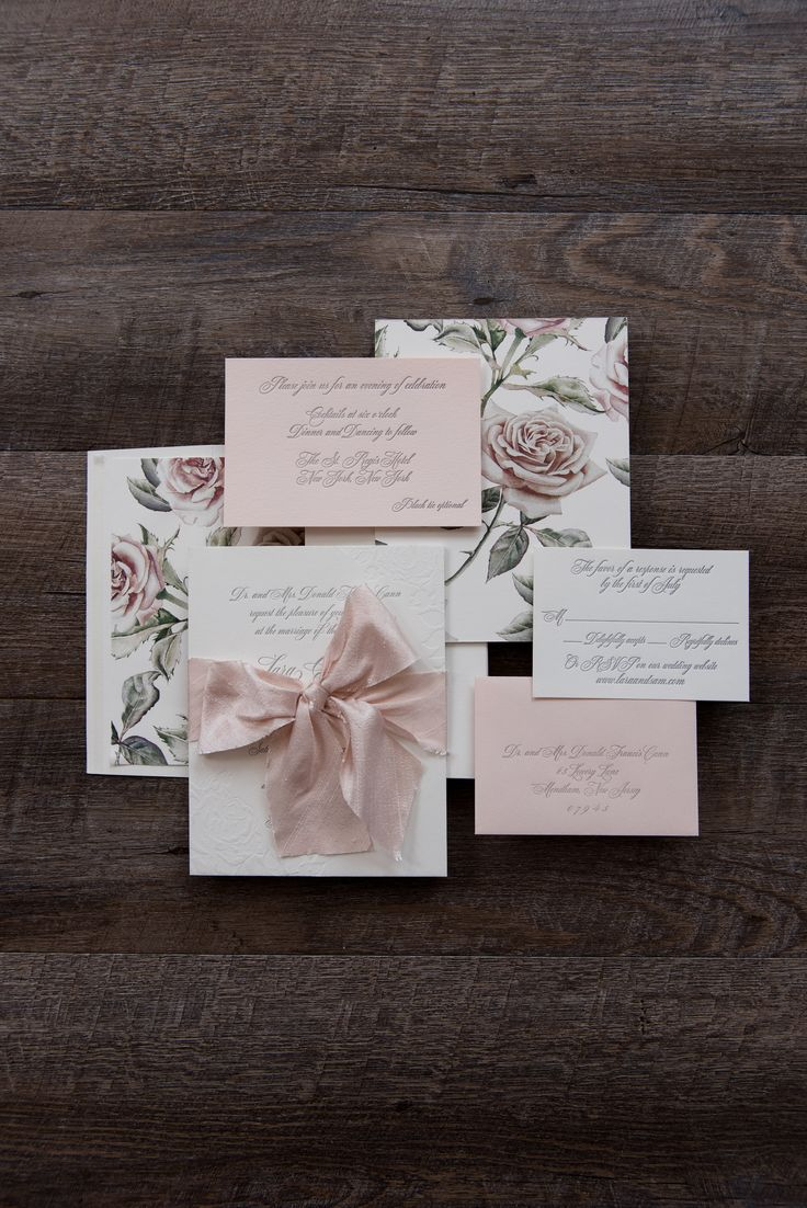how to get directions for wedding invitations%0A Custom letterpress wedding invitation suite with a rose design and blush  ribbon