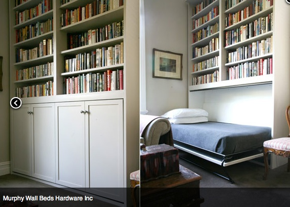 Murphy bed in a bookcase.
